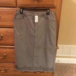 NWT Gray Denim Skirt